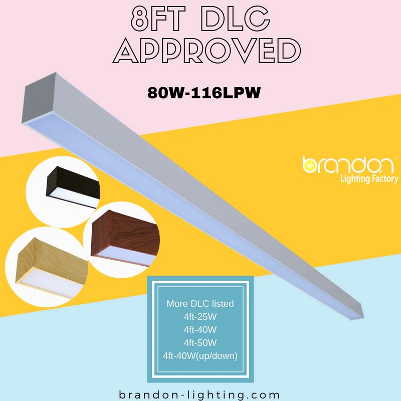 DLC listed 8ft LED linear luminaire